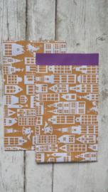 Zakjes Sinterklaas oker/paars 12 x 19 cm / 10 stk