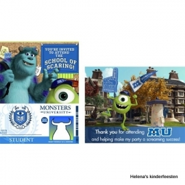 Monsters University / kinderfeest uitnodigingen en bedankkaarten