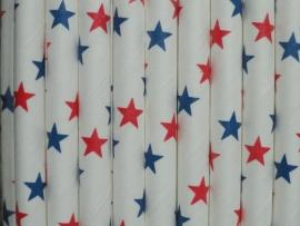 Rietjes / Papieren / wit met rode en blauwe sterren 62471