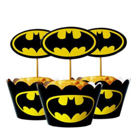 Cupcake wikkel & prikkers / Batman / 6 stk