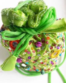 Buideltasje / paillettes / groen