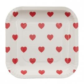Bordjes /  vierkant met rode hartjes