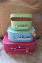 Kinderkoffertjes | gele binnenkant en stiksel (3 maten) OPRUIMING