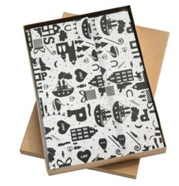 Vloeipapier / Sinterklaas zwart-wit hop hop hop / 50x70 cm / 5 stk