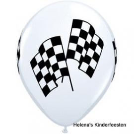 Race vlag zwart/wit geblokt vlag ballon