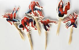 Cupcake prikkers - toppers / Spiderman / 6 stks