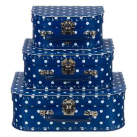 Kinderkoffertje | blauw met witte stippen