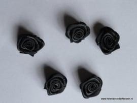 Satijnen roosje zwart / 5 stk