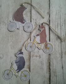Cadeau label - kaartje | dieren op de fiets | 3 mix