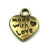 "Bedel / Hart hanger /  `made with love"" brons / pstk"
