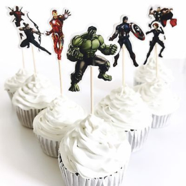 Cupcake prikkers - toppers / Avengers - Superhelden / 8 stks