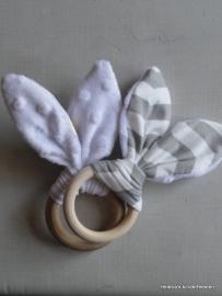 Bijtring Bunny oortjes Wit / Grijs