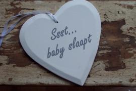 "Houten hart -  ""ssst baby slaapt"" wit"