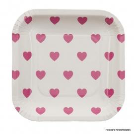 Bordjes / vierkant met roze hartjes