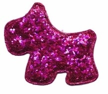 FG Applicatie glitter hond fuchsia groot