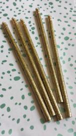 Potlood met gum / glitter goud / p stk