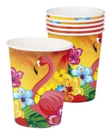 Hawai Flamingo feest beker / 6 stk