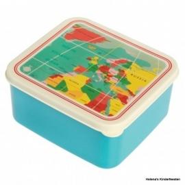 Lunchtrommel / broodtrommel - wereldkaart