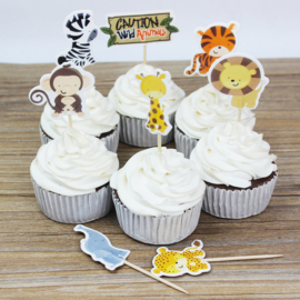 Cupcake prikker - topper / dieren/ 8 stk