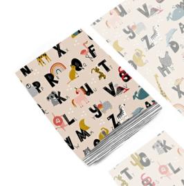 Kado zakjes / alfabet  dieren  -  letters / 12x19cm/ 5 stk