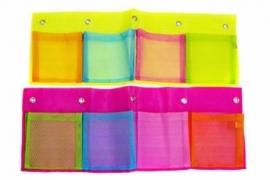 Hanging pocket geel met gekleurde vakken