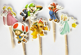 Cupcake prikkers - toppers / Super Mario / 12 stks