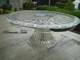 Oude glazen vlaaschotel Amerikaans Patroonglas