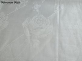 Oude zijden damasten dekbedovertrekken  no 8 met ingeweven rozen