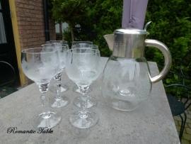 Antieke kristallen geslepen wijnset met jagdmotieven 6 glazen + kan  VERKOCHT