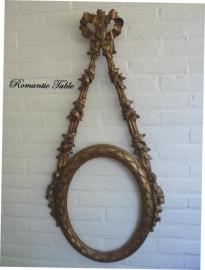 Zeer bijzondere antieke spiegel - fotolijst  hout met bladgoud