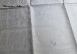 Antieke linnen theedoeken met ingeweven Art Nouveau motieven 100 x 48,5 cm