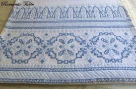 Antiek linnen hand geborduurde bed sprei no 50