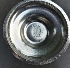 Oude kristallen champagne fluites met zilver-tinnen voet  ( 96% zilver)