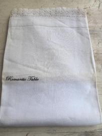 Antieke linnen dekenhoes  met kant voor  babybedje of wieg  no 3