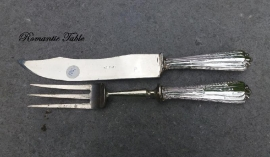 Antiek Frans trancheerbestek met zilveren heften ca 1910  no 50