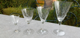 Antiek geslepen 47 delig glasservies ca 1930