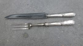 Oud zwaar verzilverde  Louis XIV trancheer (  voorsnij ) bestek no 54