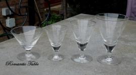 Antiek geslepen Art Deco  glasservies  ( Val st Lambert )