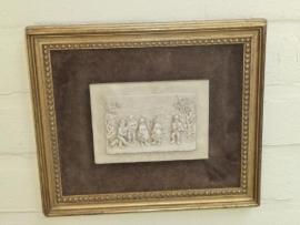 Schitterend oud schilderijtje uitgestoken in speksteen