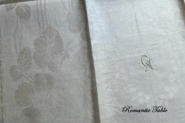 Antieke linnen theedoeken met schitterend ingeweven patroon