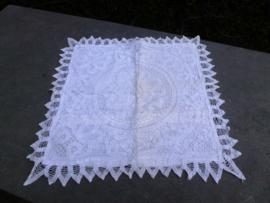 Oud bandjeskant kussensloop  40 x 40 cm