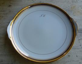 Oud Limoge eet en ontbijtservies   met kobaldblauw en bladgouden rand  (unica)