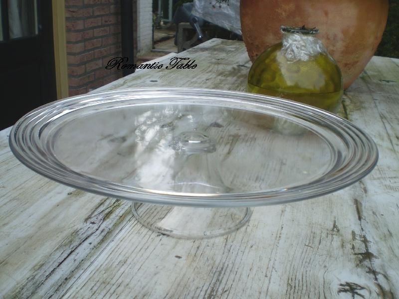 Oude glazen vlaaschotel  Art Deco  36 cm