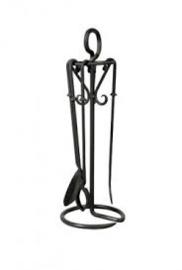 Haardstel zwart ambachtelijk smeedwerk  RZD3017