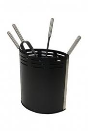 Haardstel ovale bak aluminum/ zwart RZD3506R (506A)