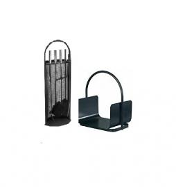 Zwart haardstel met houtbak  RZAL030860