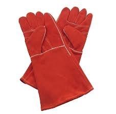 Hitte bestendige leren  handschoenen gevoerd per Paar