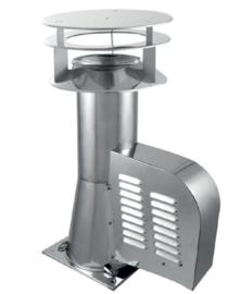 Caro Rookgasventilator diam. 150mm Vierkant  met kap.S7D150