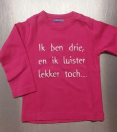 """T-shirt lange mouw  fuchsia"""" ik ben 3 """" mt 86"""