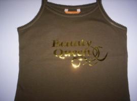 Hempje bruin beauty queen ( glans goud) mt 122/128